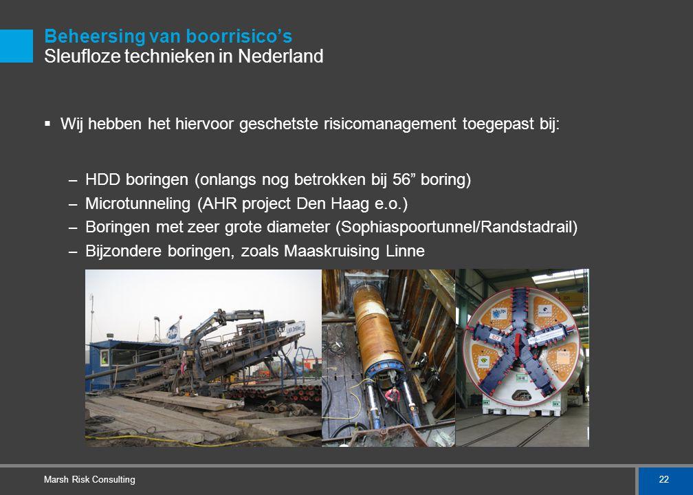 22 Marsh Risk Consulting Beheersing van boorrisico's Sleufloze technieken in Nederland  Wij hebben het hiervoor geschetste risicomanagement toegepast