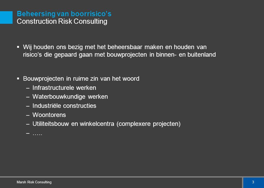 3 Marsh Risk Consulting Beheersing van boorrisico's Construction Risk Consulting  Wij houden ons bezig met het beheersbaar maken en houden van risico