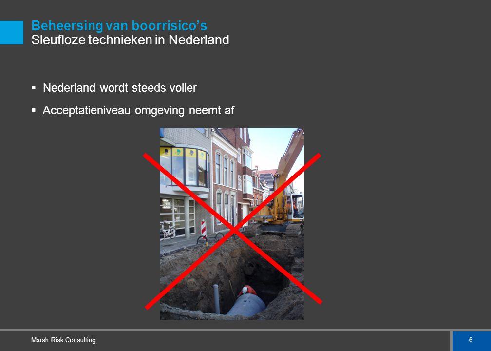 6 Marsh Risk Consulting Beheersing van boorrisico's Sleufloze technieken in Nederland  Nederland wordt steeds voller  Acceptatieniveau omgeving neem