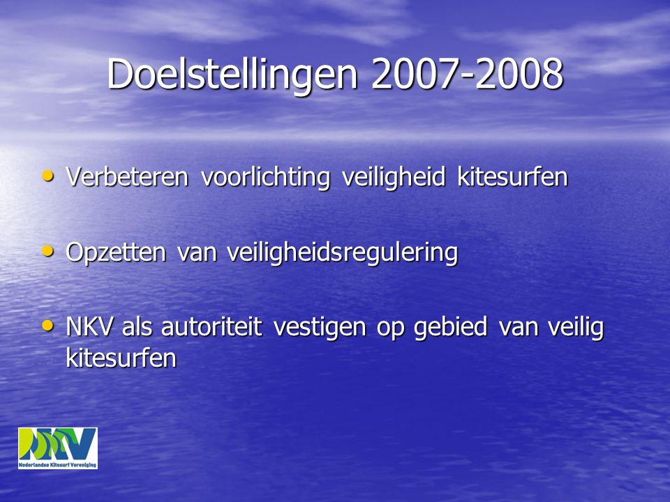 Doelstellingen 2007-2008 • Verbeteren voorlichting veiligheid kitesurfen • Opzetten van veiligheidsregulering • NKV als autoriteit vestigen op gebied van veilig kitesurfen