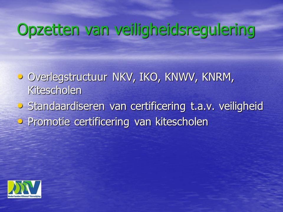 Opzetten van veiligheidsregulering • Overlegstructuur NKV, IKO, KNWV, KNRM, Kitescholen • Standaardiseren van certificering t.a.v.