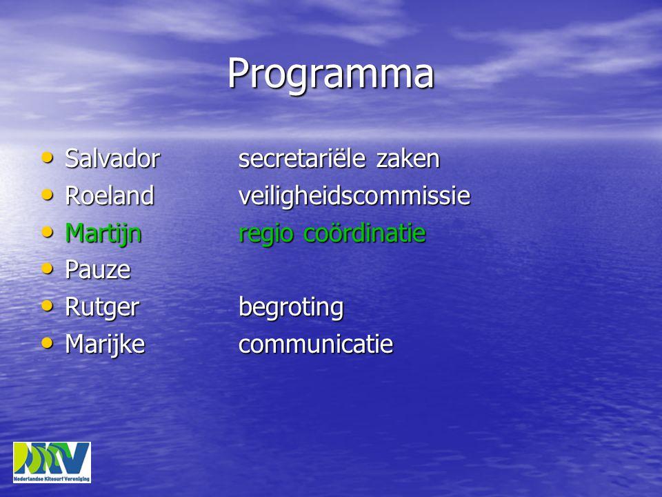 Programma • Salvadorsecretariële zaken • Roelandveiligheidscommissie • Martijnregio coördinatie • Pauze • Rutgerbegroting • Marijkecommunicatie