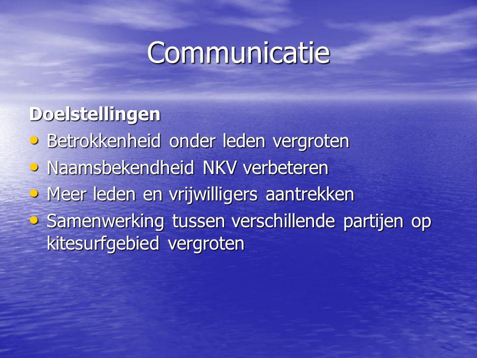 Communicatie Doelstellingen • Betrokkenheid onder leden vergroten • Naamsbekendheid NKV verbeteren • Meer leden en vrijwilligers aantrekken • Samenwerking tussen verschillende partijen op kitesurfgebied vergroten