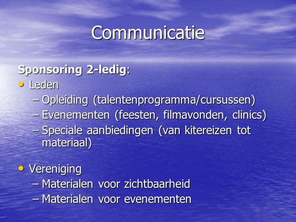 Communicatie Sponsoring 2-ledig: • Leden –Opleiding (talentenprogramma/cursussen) –Evenementen (feesten, filmavonden, clinics) –Speciale aanbiedingen (van kitereizen tot materiaal) • Vereniging –Materialen voor zichtbaarheid –Materialen voor evenementen