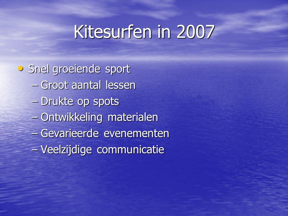 Kitesurfen in 2007 • Vereniging voor de kitesurfer –Informatiepunt –Regio coördinatie –WA verzekering –Nk freestyle & NK speedkite