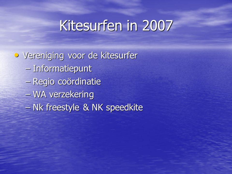 Kitesurfen in 2007 • Uitbreiding invloedsgebied –Leden –Regie vertegenwoordiging –Watersportverbond –Surf/windsurf verenigingen
