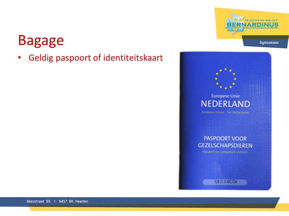 Bagage • Geldig paspoort of identiteitskaart