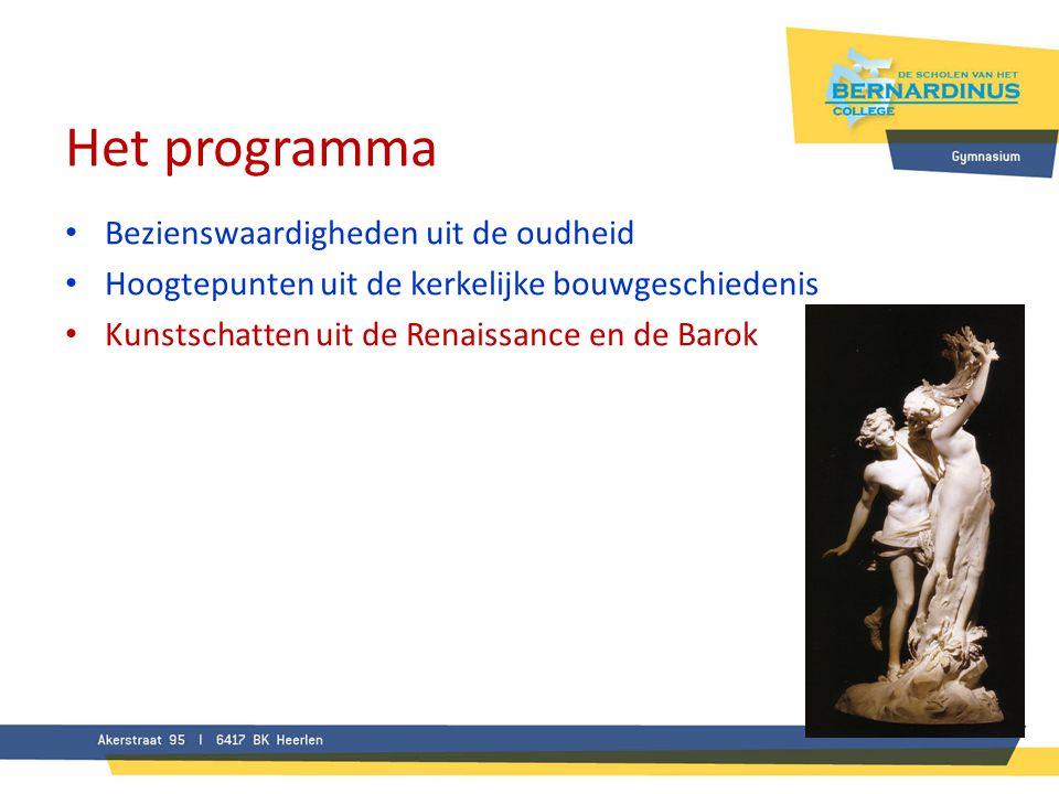 Het programma • Bezienswaardigheden uit de oudheid • Hoogtepunten uit de kerkelijke bouwgeschiedenis • Kunstschatten uit de Renaissance en de Barok