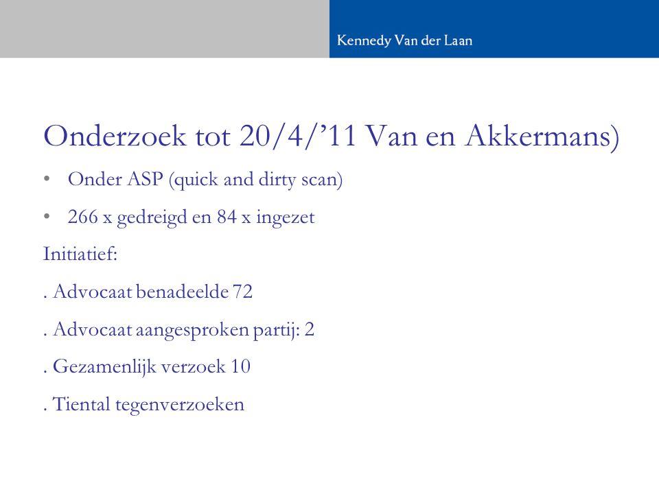 Onderzoek tot 20/4/'11 Van en Akkermans) •Onder ASP (quick and dirty scan) •266 x gedreigd en 84 x ingezet Initiatief:.
