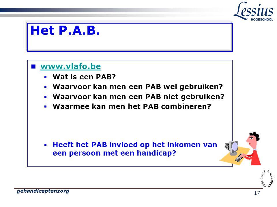 gehandicaptenzorg 17 Het P.A.B. www.vlafo.be  Wat is een PAB?  Waarvoor kan men een PAB wel gebruiken?  Waarvoor kan men een PAB niet gebruiken? 