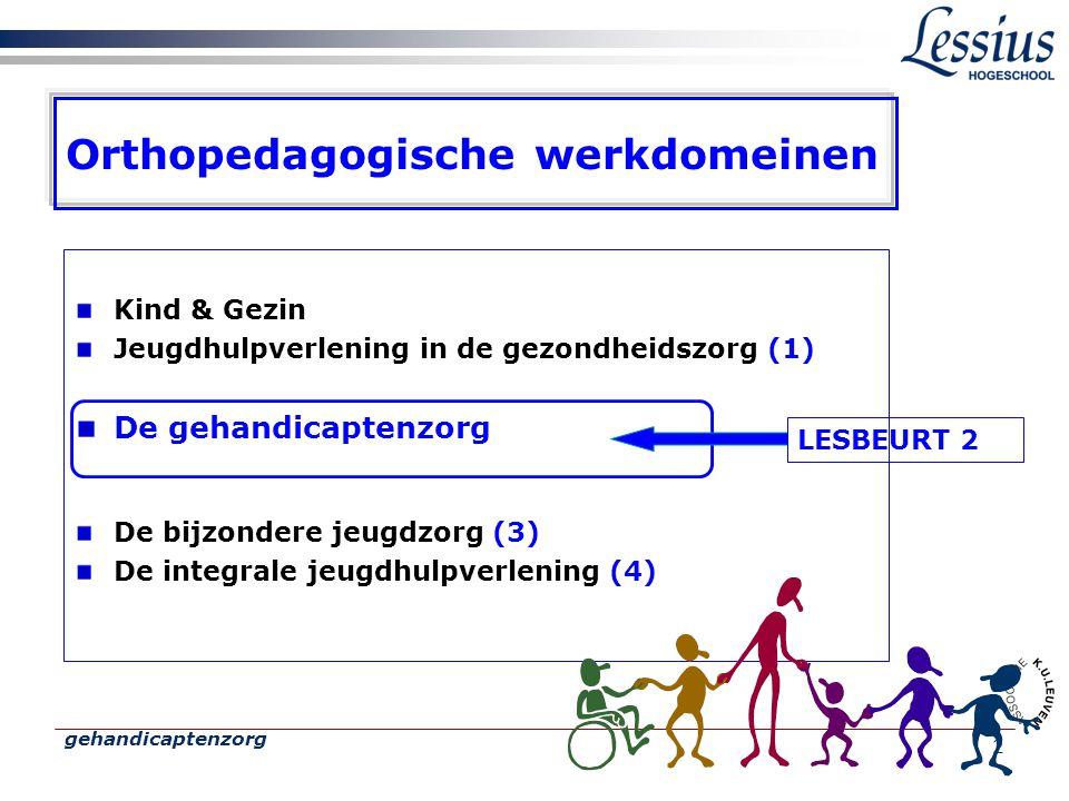 gehandicaptenzorg 2 Orthopedagogische werkdomeinen Kind & Gezin Jeugdhulpverlening in de gezondheidszorg (1) De gehandicaptenzorg De bijzondere jeugdzorg (3) De integrale jeugdhulpverlening (4) LESBEURT 2