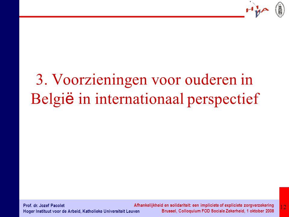 12 Prof. dr. Jozef Pacolet Hoger Instituut voor de Arbeid, Katholieke Universiteit Leuven Afhankelijkheid en solidariteit: een impliciete of expliciet