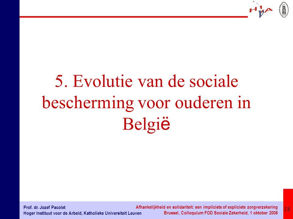 18 Prof. dr. Jozef Pacolet Hoger Instituut voor de Arbeid, Katholieke Universiteit Leuven Afhankelijkheid en solidariteit: een impliciete of expliciet