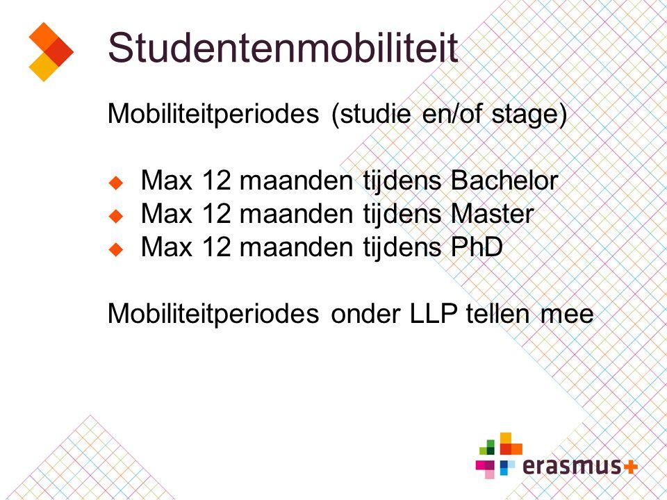 Studentenmobiliteit Mobiliteitperiodes (studie en/of stage)  Max 12 maanden tijdens Bachelor  Max 12 maanden tijdens Master  Max 12 maanden tijdens PhD Mobiliteitperiodes onder LLP tellen mee