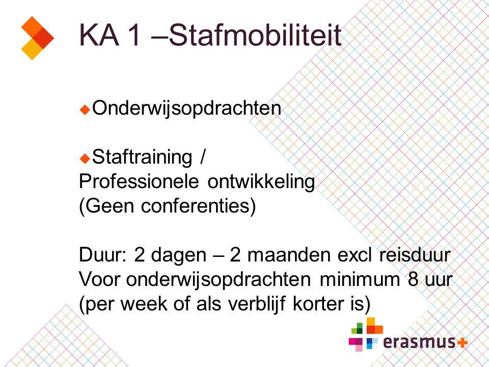 KA 1 –Stafmobiliteit  Onderwijsopdrachten  Staftraining / Professionele ontwikkeling (Geen conferenties) Duur: 2 dagen – 2 maanden excl reisduur Voor onderwijsopdrachten minimum 8 uur (per week of als verblijf korter is)