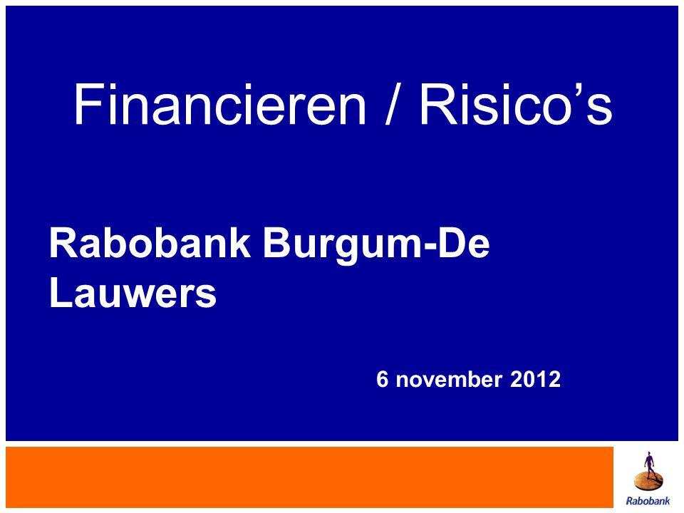 Financieren / Risico's Rabobank Burgum-De Lauwers 6 november 2012