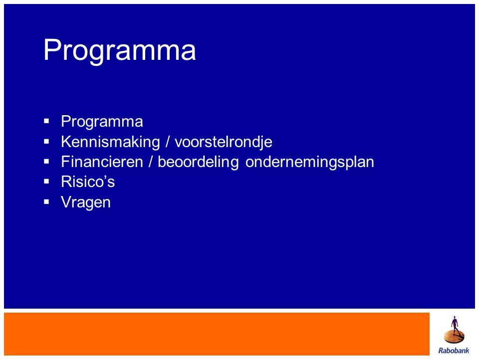 Programma  Programma  Kennismaking / voorstelrondje  Financieren / beoordeling ondernemingsplan  Risico's  Vragen