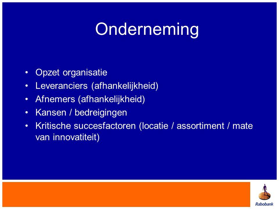 Onderneming •Opzet organisatie •Leveranciers (afhankelijkheid) •Afnemers (afhankelijkheid) •Kansen / bedreigingen •Kritische succesfactoren (locatie /