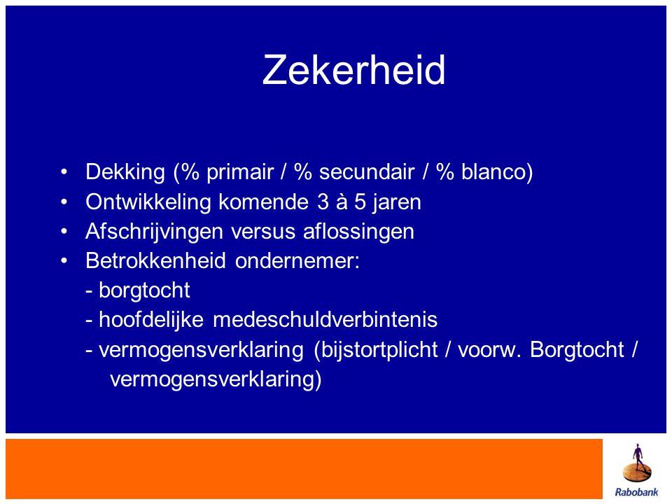 Zekerheid •Dekking (% primair / % secundair / % blanco) •Ontwikkeling komende 3 à 5 jaren •Afschrijvingen versus aflossingen •Betrokkenheid ondernemer