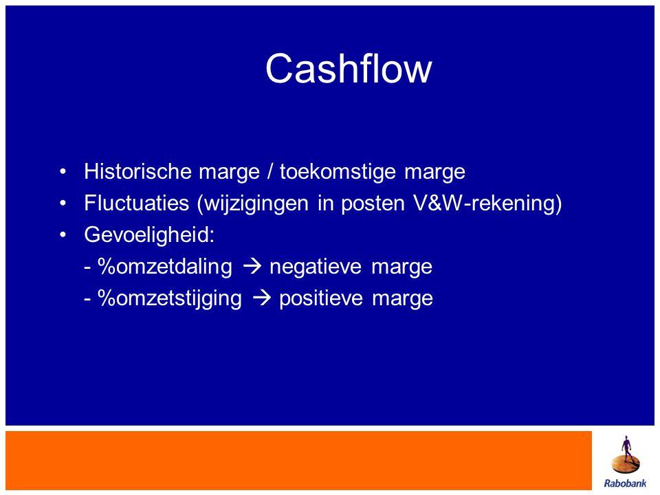 Cashflow •Historische marge / toekomstige marge •Fluctuaties (wijzigingen in posten V&W-rekening) •Gevoeligheid: - %omzetdaling  negatieve marge - %o