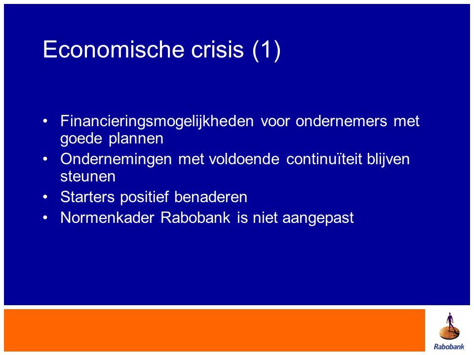 Economische crisis (1) •Financieringsmogelijkheden voor ondernemers met goede plannen •Ondernemingen met voldoende continuïteit blijven steunen •Start