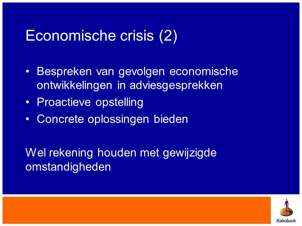 Economische crisis (2) •Bespreken van gevolgen economische ontwikkelingen in adviesgesprekken •Proactieve opstelling •Concrete oplossingen bieden Wel