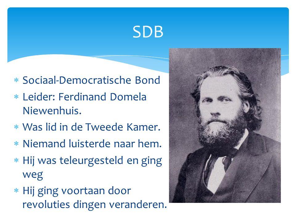  Sociaal-Democratische Bond  Leider: Ferdinand Domela Niewenhuis.  Was lid in de Tweede Kamer.  Niemand luisterde naar hem.  Hij was teleurgestel