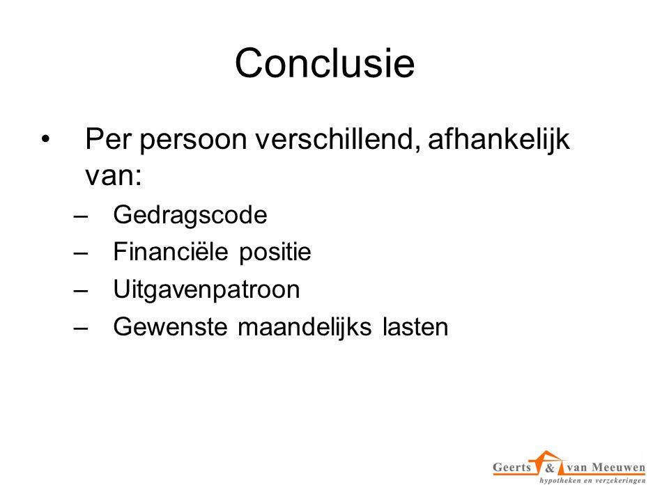 Conclusie •Per persoon verschillend, afhankelijk van: –Gedragscode –Financiële positie –Uitgavenpatroon –Gewenste maandelijks lasten