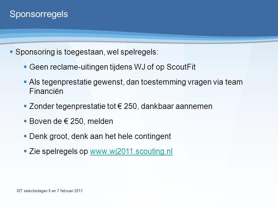 Team Financiën Hans Teeuwen Jacob van Ee Algemeen e-mailadres: financien@wj2011.scouting.nlfinancien@wj2011.scouting.nl Logistiekeninkoop@wj2011.scouting.nl IST selectiedagen 6 en 7 februari 2011