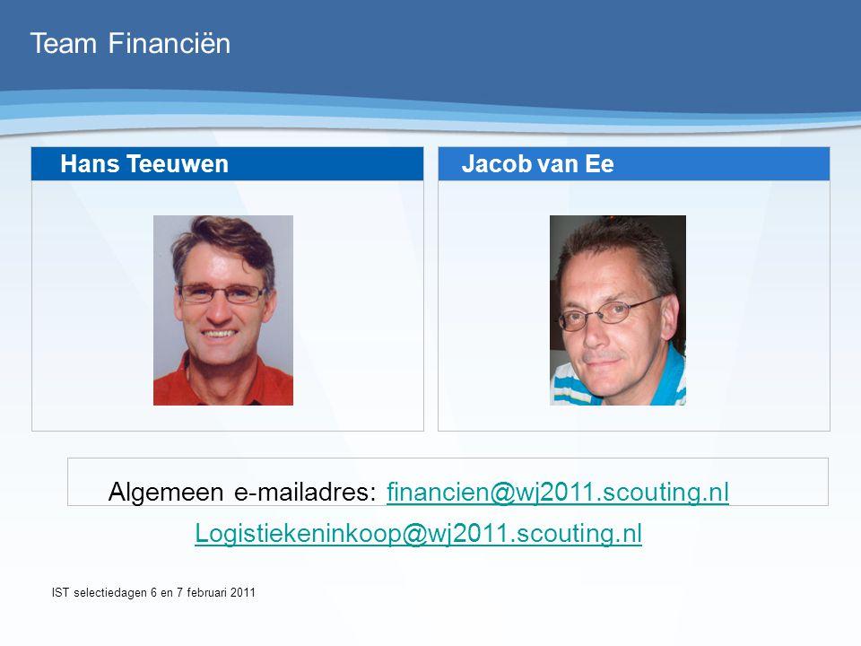Team Financiën Hans Teeuwen Jacob van Ee Algemeen e-mailadres: financien@wj2011.scouting.nlfinancien@wj2011.scouting.nl Logistiekeninkoop@wj2011.scout