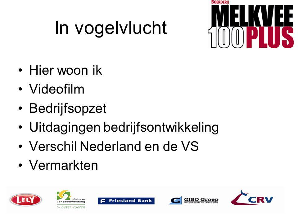 In vogelvlucht •Hier woon ik •Videofilm •Bedrijfsopzet •Uitdagingen bedrijfsontwikkeling •Verschil Nederland en de VS •Vermarkten