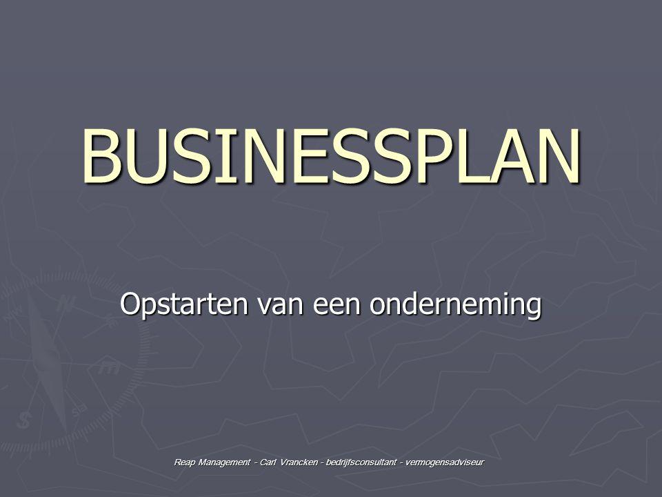 Reap Management - Carl Vrancken - bedrijfsconsultant - vermogensadviseur Inhoud ► ► Stappenplan opstarten van een onderneming   Eén - Koppen - Koppen - 13 mei 2010 | Eén Eén - Koppen - Koppen - 13 mei 2010 | Eén ► ► Businessplan (ondernemingsplan)