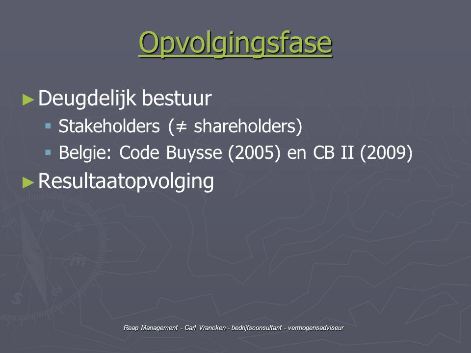 Reap Management - Carl Vrancken - bedrijfsconsultant - vermogensadviseur Opvolgingsfase ► ► Deugdelijk bestuur   Stakeholders (≠ shareholders)   B