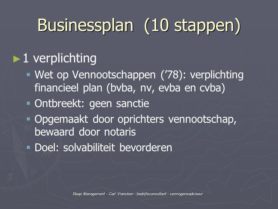Reap Management - Carl Vrancken - bedrijfsconsultant - vermogensadviseur Businessplan (10 stappen) ► ► 1 verplichting   Wet op Vennootschappen ('78)