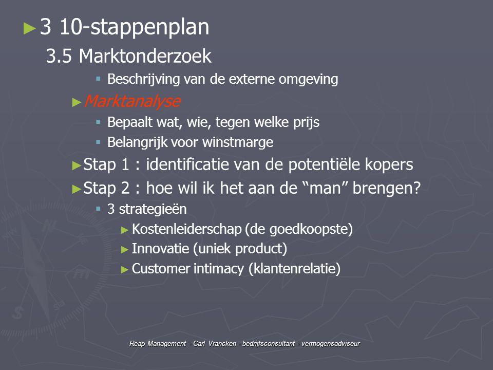 Reap Management - Carl Vrancken - bedrijfsconsultant - vermogensadviseur ► ► 3 10-stappenplan 3.5 Marktonderzoek   Beschrijving van de externe omgev