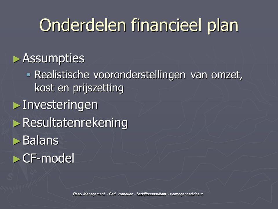 Reap Management - Carl Vrancken - bedrijfsconsultant - vermogensadviseur Onderdelen financieel plan ► Assumpties  Realistische vooronderstellingen va