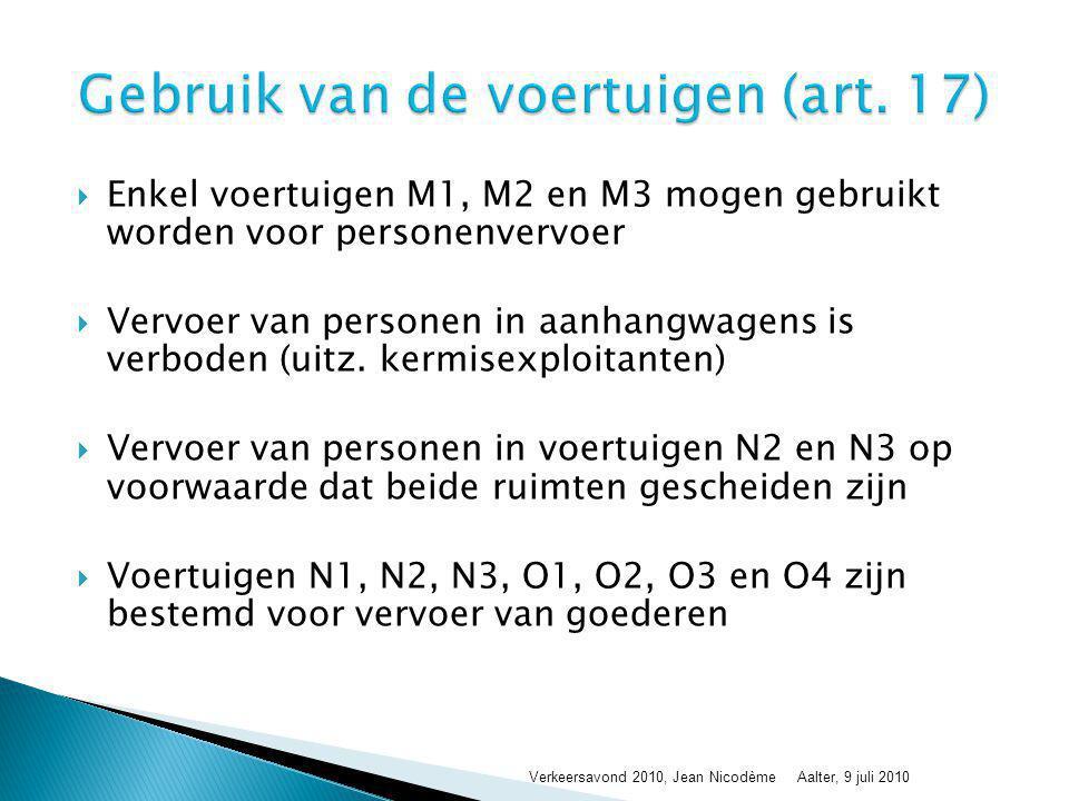  Enkel voertuigen M1, M2 en M3 mogen gebruikt worden voor personenvervoer  Vervoer van personen in aanhangwagens is verboden (uitz. kermisexploitant