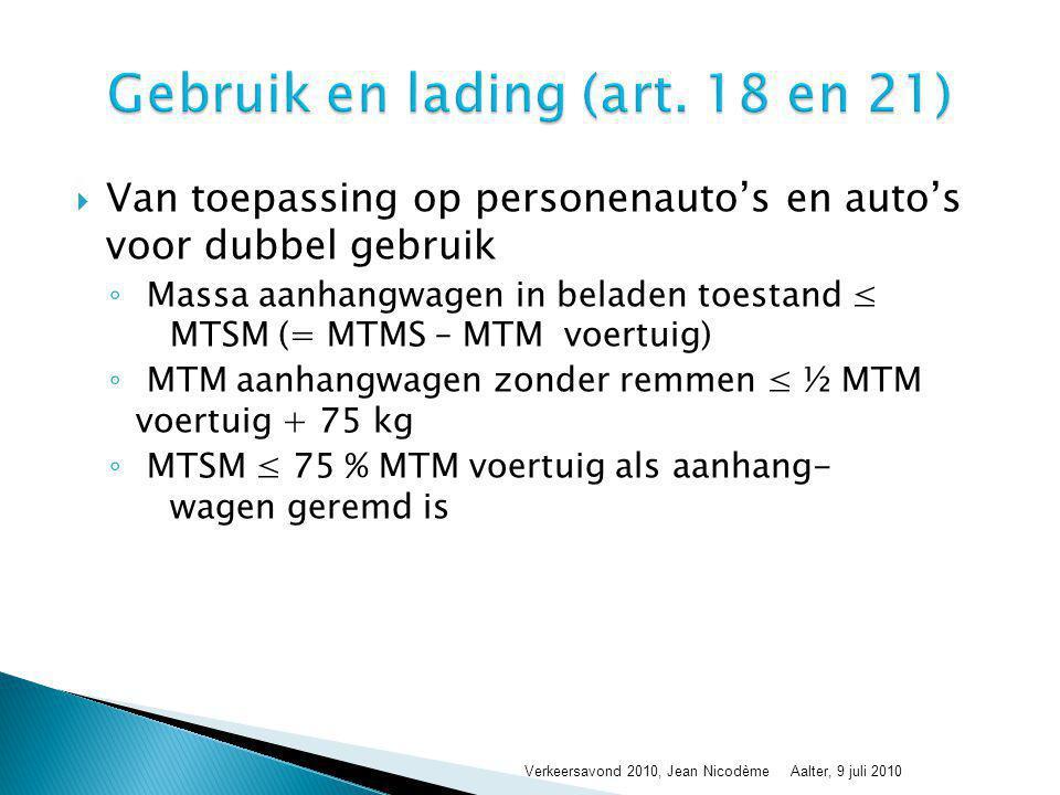  Van toepassing op personenauto's en auto's voor dubbel gebruik ◦ Massa aanhangwagen in beladen toestand ≤ MTSM (= MTMS – MTM voertuig) ◦ MTM aanhang