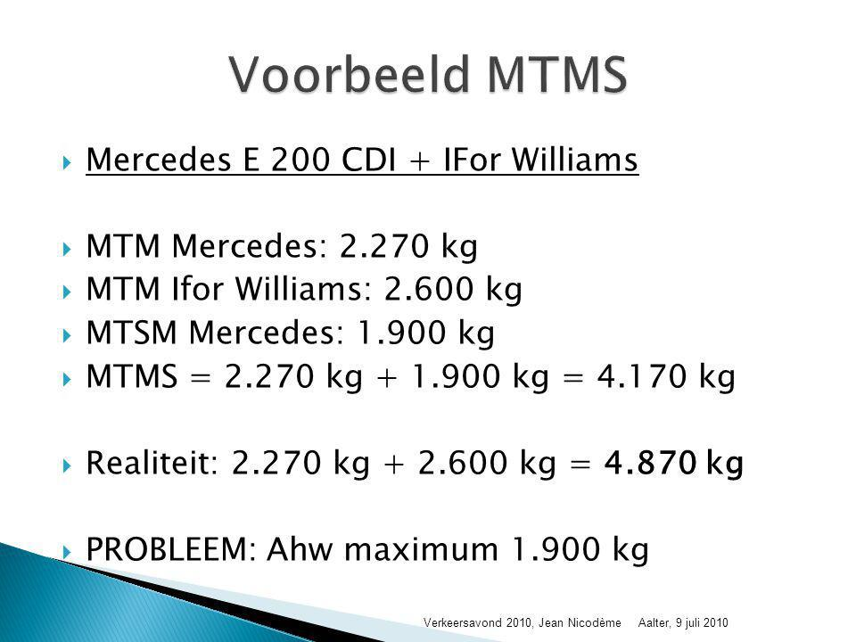  Mercedes E 200 CDI + IFor Williams  MTM Mercedes: 2.270 kg  MTM Ifor Williams: 2.600 kg  MTSM Mercedes: 1.900 kg  MTMS = 2.270 kg + 1.900 kg = 4