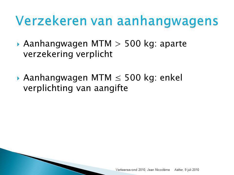 Aanhangwagen MTM > 500 kg: aparte verzekering verplicht  Aanhangwagen MTM ≤ 500 kg: enkel verplichting van aangifte Verkeersavond 2010, Jean Nicodè