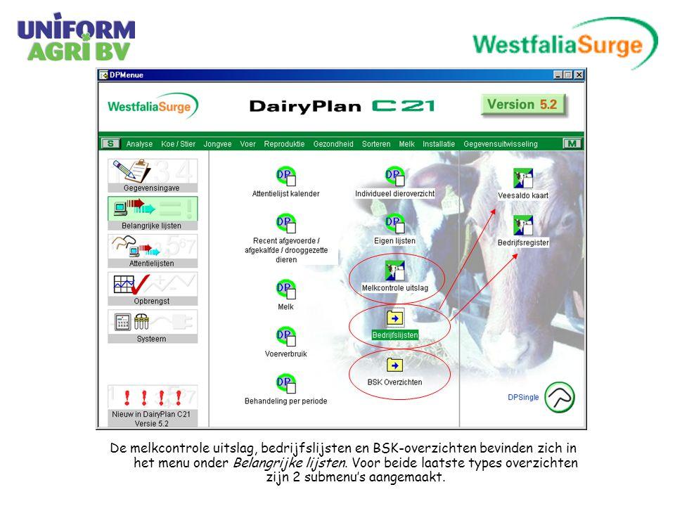 De melkcontrole uitslag, bedrijfslijsten en BSK-overzichten bevinden zich in het menu onder Belangrijke lijsten.