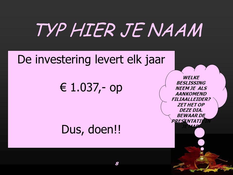 88 De investering levert elk jaar € 1.037,- op Dus, doen!.