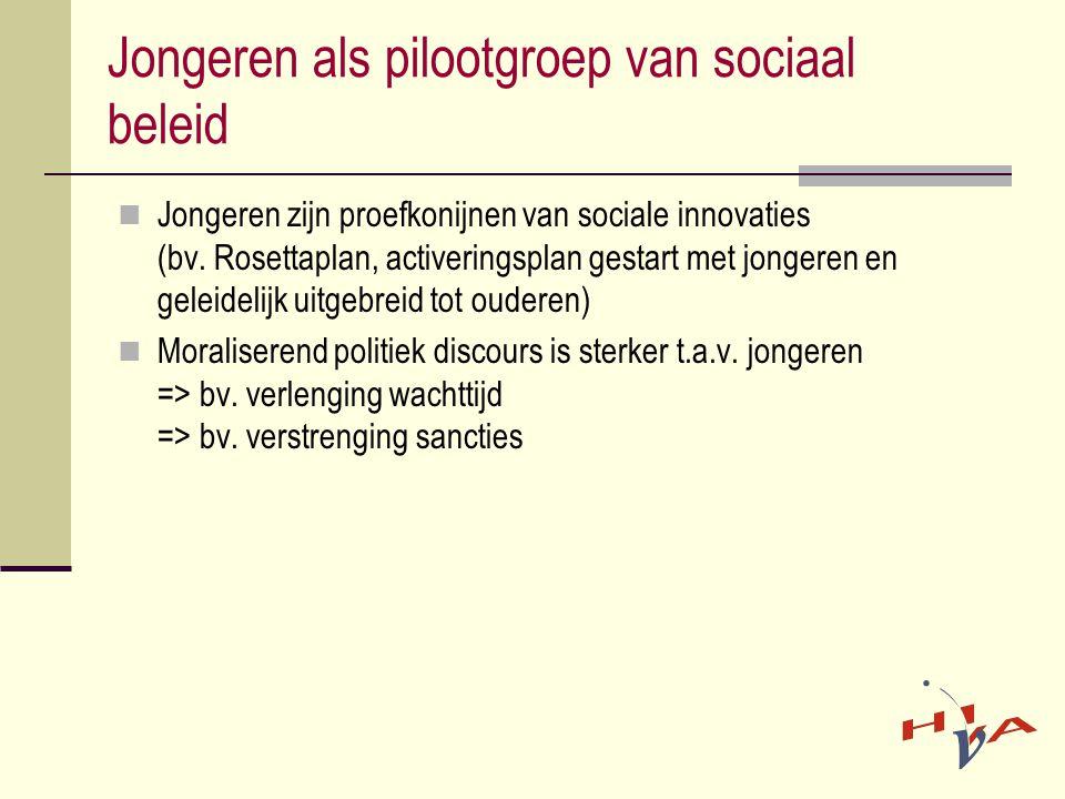  Jongeren zijn proefkonijnen van sociale innovaties (bv. Rosettaplan, activeringsplan gestart met jongeren en geleidelijk uitgebreid tot ouderen)  M