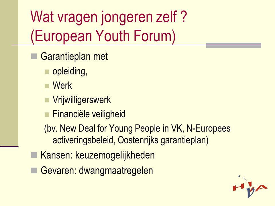 Wat vragen jongeren zelf ? (European Youth Forum)  Garantieplan met  opleiding,  Werk  Vrijwilligerswerk  Financiële veiligheid (bv. New Deal for