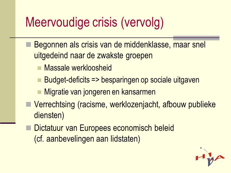 Meervoudige crisis (vervolg)  Begonnen als crisis van de middenklasse, maar snel uitgedeind naar de zwakste groepen  Massale werkloosheid  Budget-deficits => besparingen op sociale uitgaven  Migratie van jongeren en kansarmen  Verrechtsing (racisme, werklozenjacht, afbouw publieke diensten)  Dictatuur van Europees economisch beleid (cf.