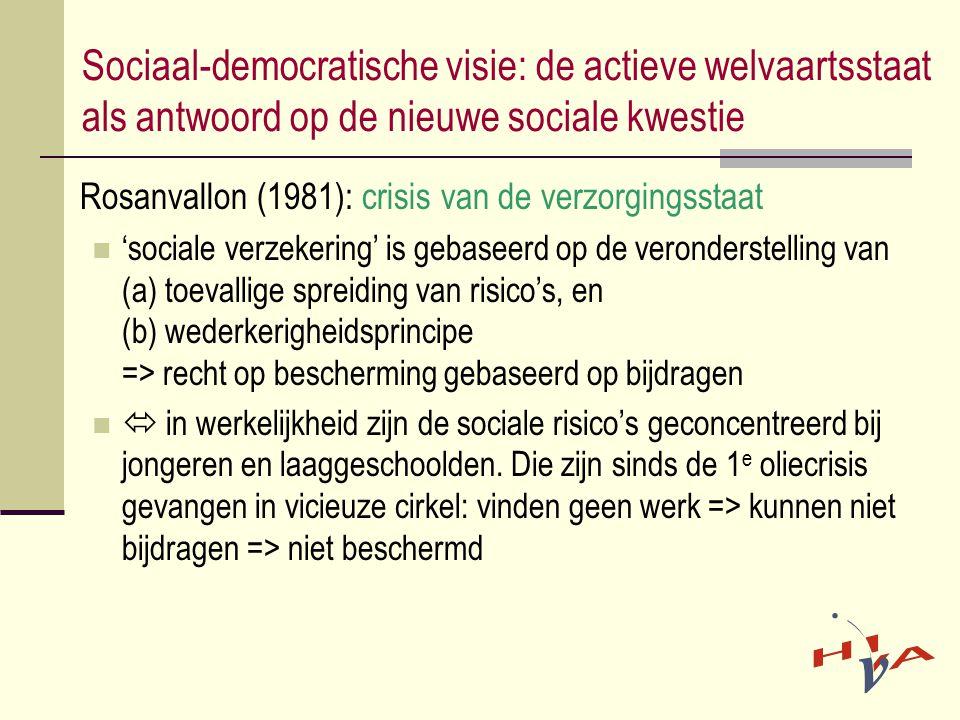 Sociaal-democratische visie: de actieve welvaartsstaat als antwoord op de nieuwe sociale kwestie Rosanvallon (1981): crisis van de verzorgingsstaat  'sociale verzekering' is gebaseerd op de veronderstelling van (a) toevallige spreiding van risico's, en (b) wederkerigheidsprincipe => recht op bescherming gebaseerd op bijdragen   in werkelijkheid zijn de sociale risico's geconcentreerd bij jongeren en laaggeschoolden.