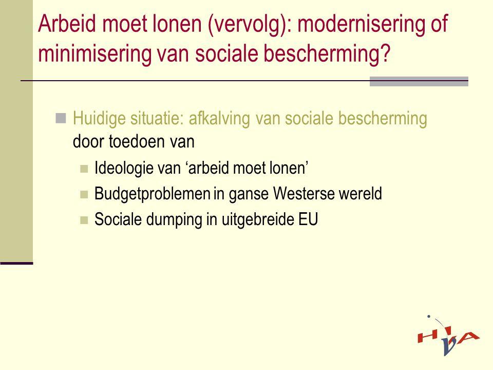 Arbeid moet lonen (vervolg): modernisering of minimisering van sociale bescherming?  Huidige situatie: afkalving van sociale bescherming door toedoen
