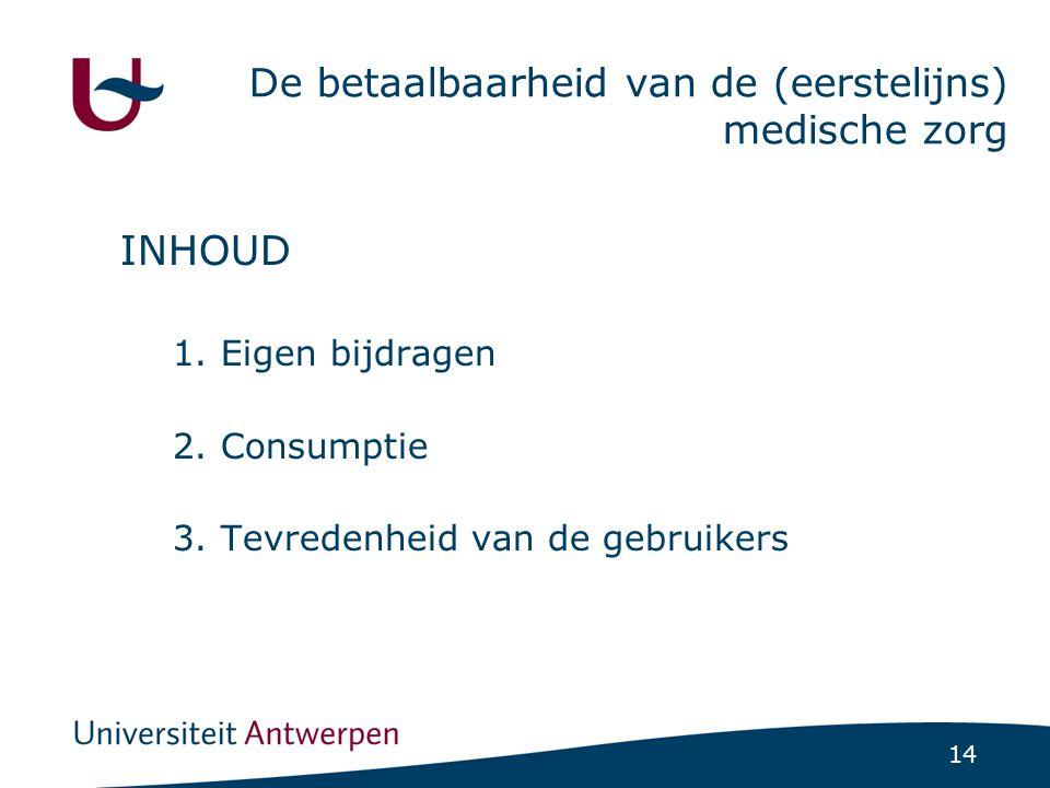 14 De betaalbaarheid van de (eerstelijns) medische zorg INHOUD 1.Eigen bijdragen 2.Consumptie 3.Tevredenheid van de gebruikers