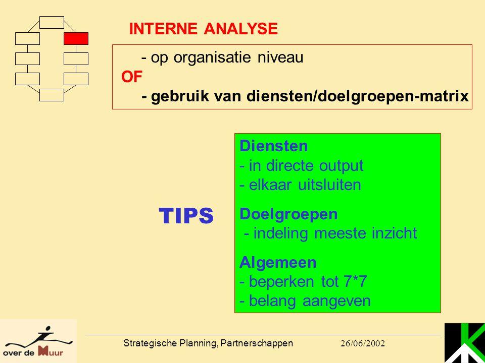 26/06/2002 Strategische Planning, Partnerschappen Diensten - in directe output - elkaar uitsluiten Doelgroepen - indeling meeste inzicht Algemeen - be