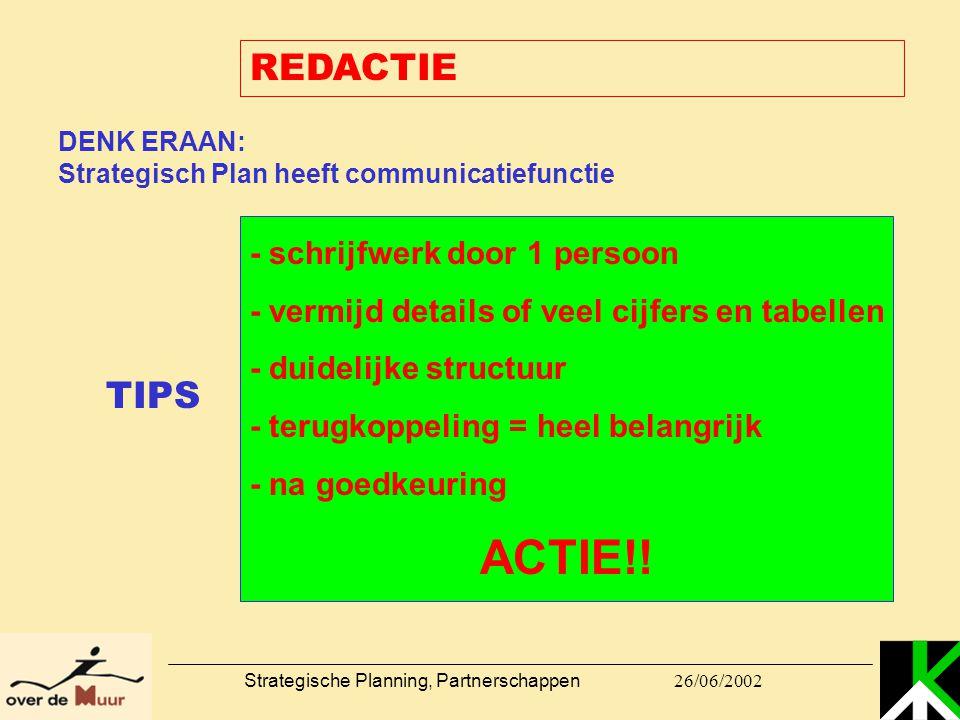 26/06/2002 Strategische Planning, Partnerschappen REDACTIE DENK ERAAN: Strategisch Plan heeft communicatiefunctie - schrijfwerk door 1 persoon - vermi